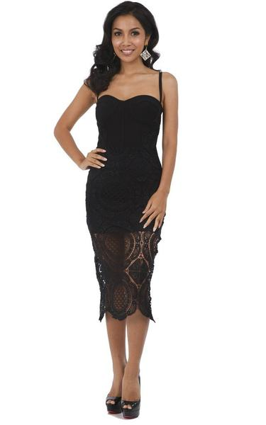black lace bandage dress - front view on model