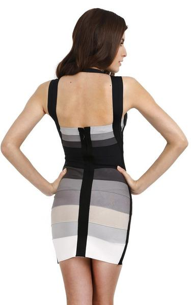 grey and black ombre bandage dress - back view on model