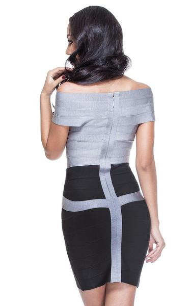 black and silver two-tone bandage dress - back view on model