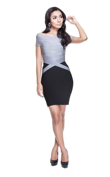 black and silver two tone bandage dress - front view on model