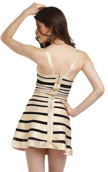 short black and gold party dress - back view on model