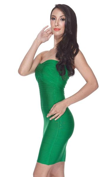 short green bandage dress- side view on model