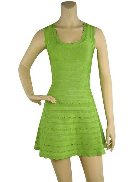 green flared bandage dress - front view