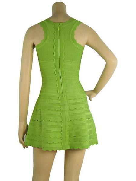 green flared bandage dress - back view