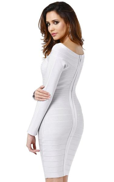 grey long sleeve bandage dress - side view on model