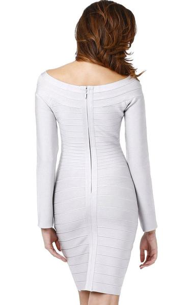 grey long sleeve bandage dress - back view on model