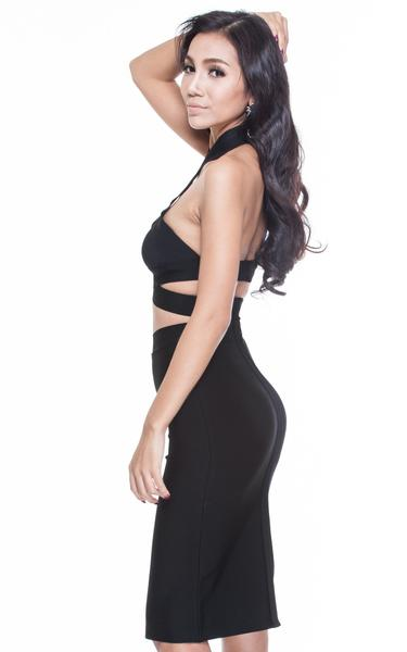 two piece halter dress - side view on model