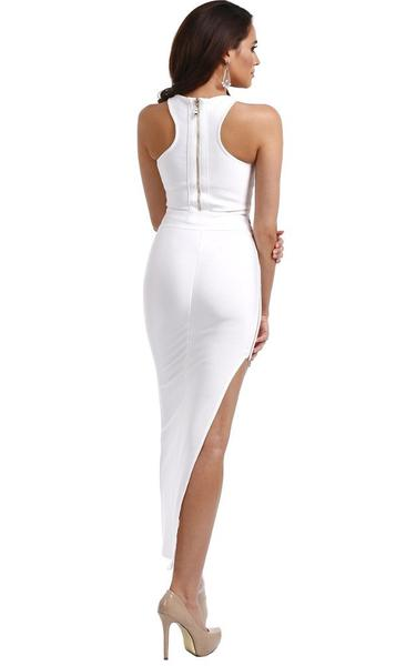 high split white two piece maxi - back view on model