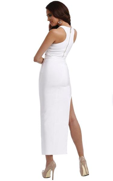 high split white two piece maxi - side view on model