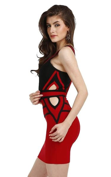 black and red party dress - side view on model
