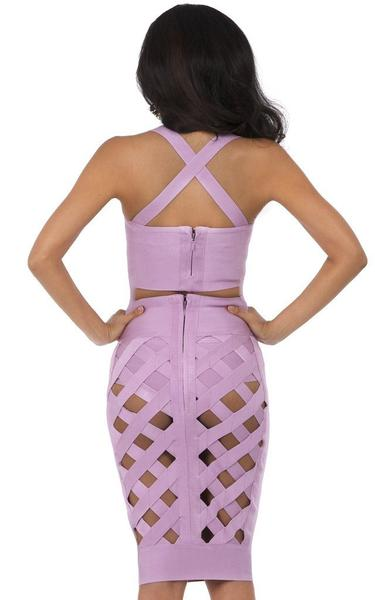 purple two piece bandage dress - back view on model