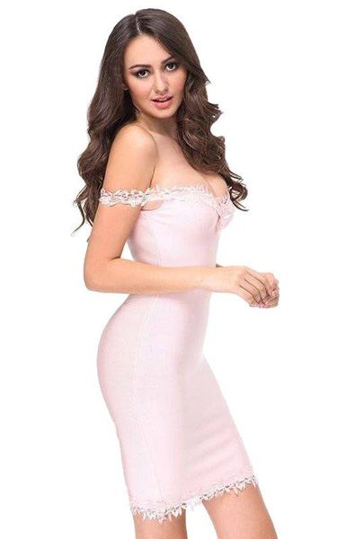 pink lace bodycon dress - side view on model