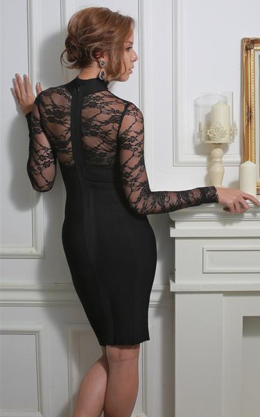 long sleeve lace bodycon dress - back view on model