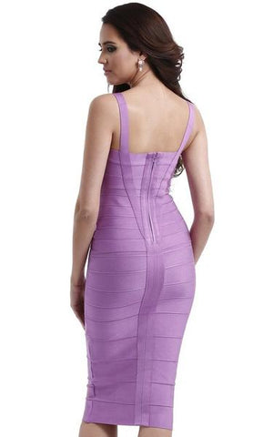 lavender midi bandage dress - back view on model