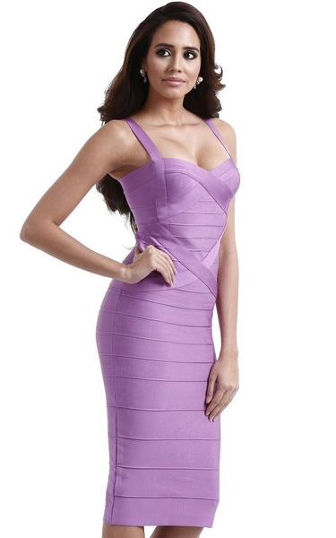 lavender midi bandage dress - side view on model