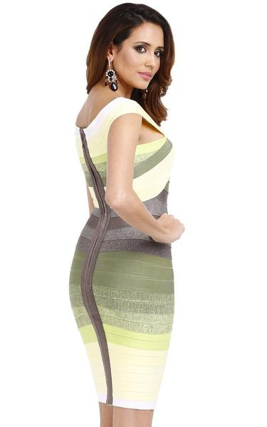 side of lemon green ombre dress - on model