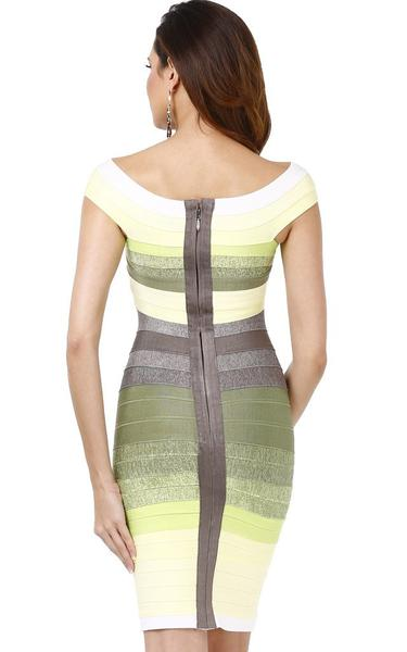 back of lemon green ombre dress - on model