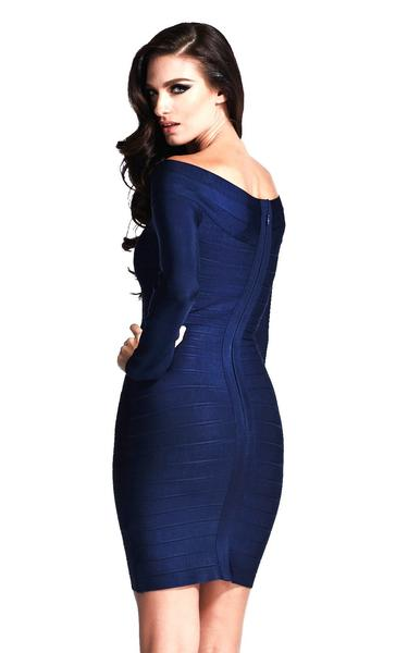 blue long sleeved bandage dress - back view on model