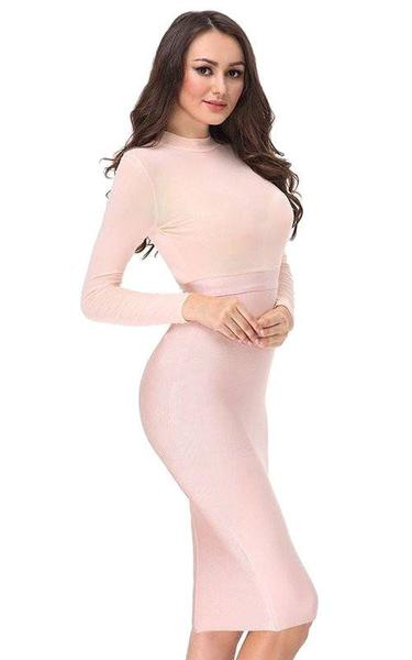 nude pink mesh bandage dress - side view on model