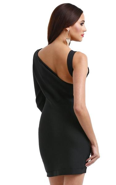 maggie q sideless bandage dress - back view on model
