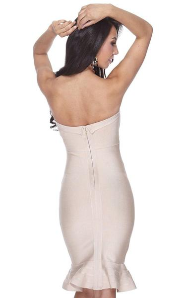 mermaid strapless sheath dress - back view on model