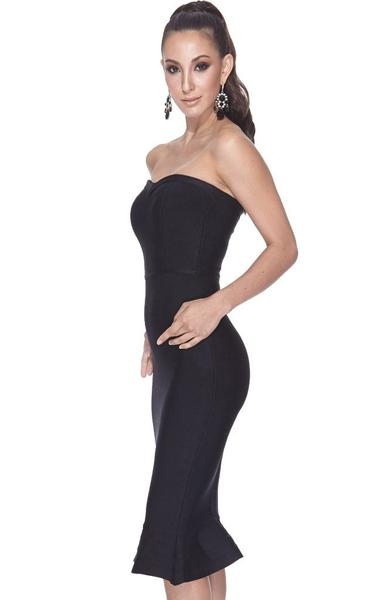 black strapless mermaid dress - side view on model