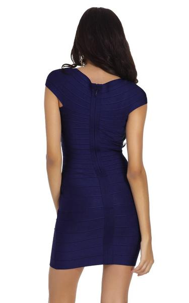 navy blue cap sleeve dress - back view on model