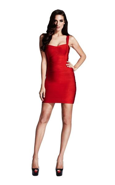 red bodycon bandage dress - full view on model