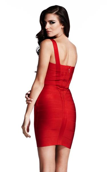 red bodycon bandage dress - back view on model