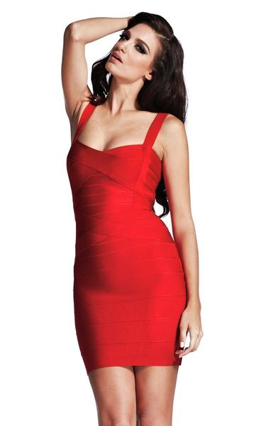 red bodycon bandage dress - front view on model