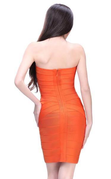 orange strapless dress - back view