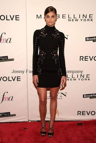 long sleeve black bodycon dress - front view on model