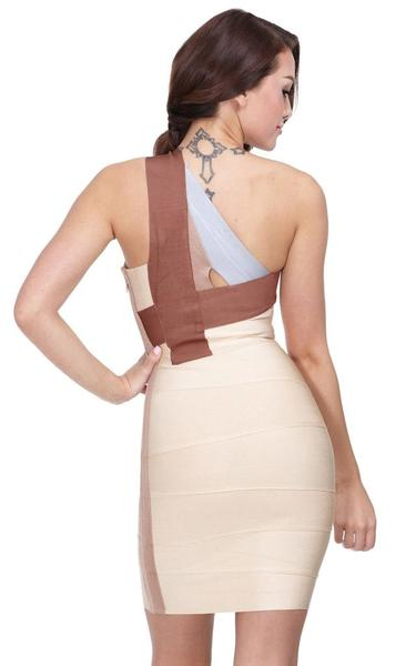 nude one shoulder bandage dress - back view on model