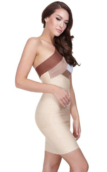 nude one shoulder bandage dress - side view on model