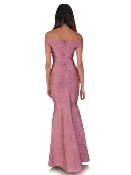 blush pink maxi bandage dress - back view on model
