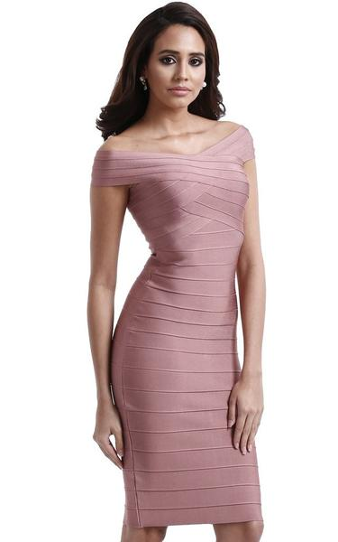 pink off shoulder bandage dress - side view on model