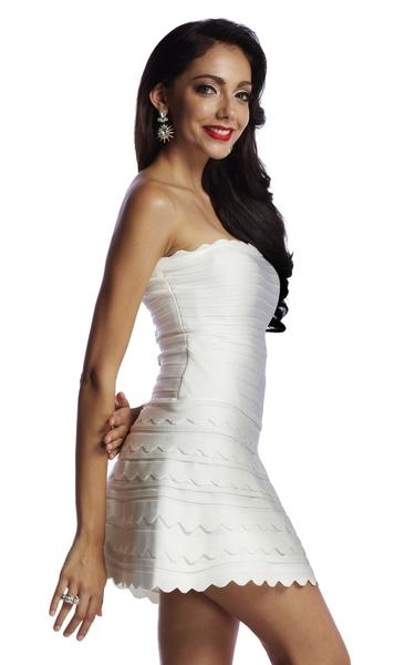 white fit and flare bandage dress - side view on model