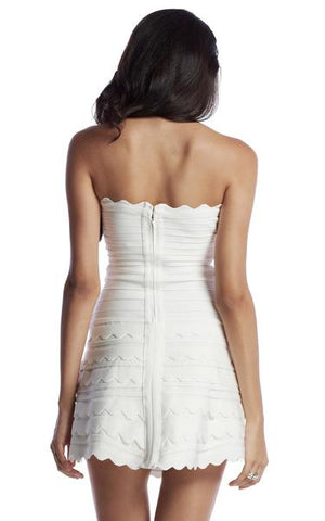 white fit and flare bandage dress - back view on model