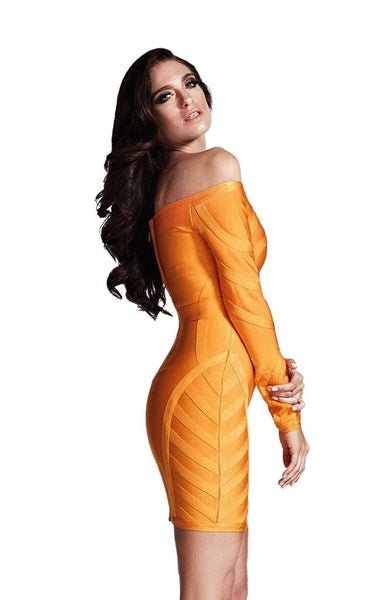 long sleeve orange off shoulder bandage dress on model