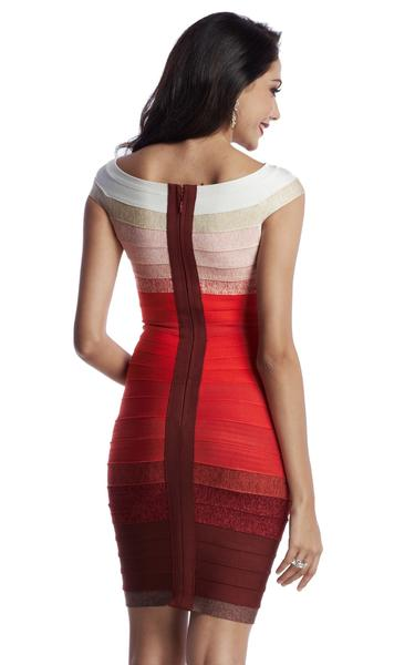 red gradient dress - back view on model