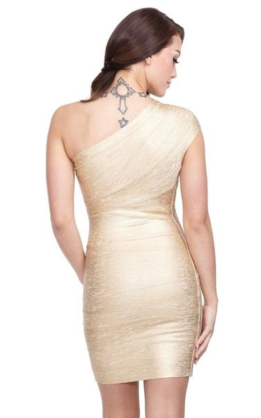 back of gold metallic bandage dress on model
