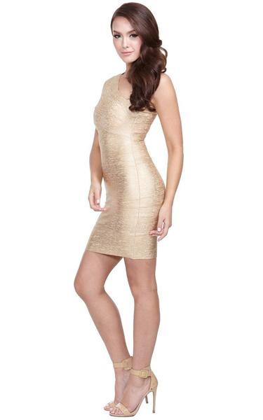 shimmering gold dress on model