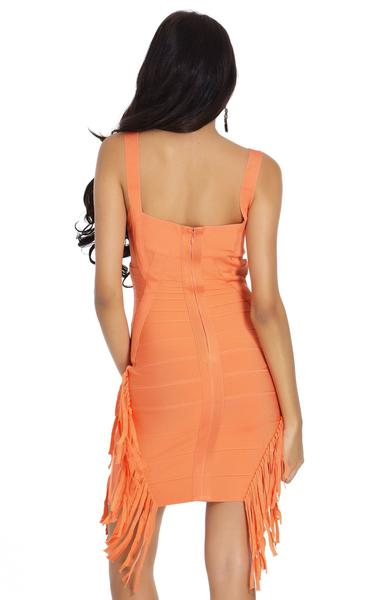 orange tassel bandage dress - back view on model