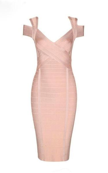 beige perfect date bandage dress
