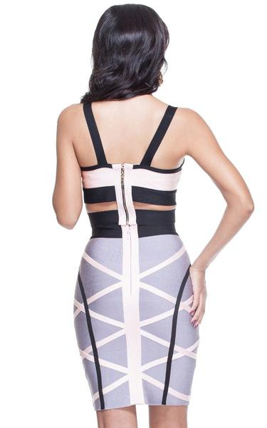pink and grey two piece bandage dress - back view on model