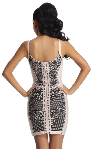 black and beige printed bandage dress - back view on model