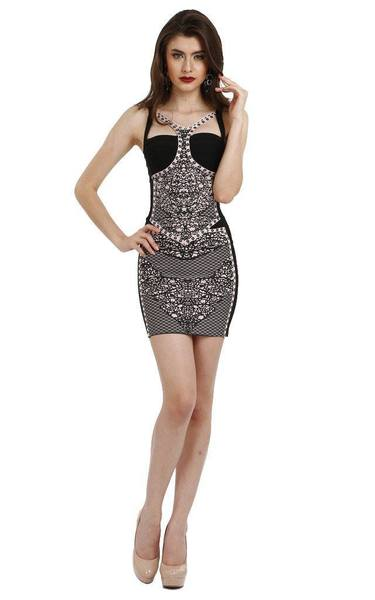 black patterned bandage dress