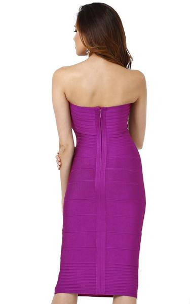 purple strapless bandage dress - back view on model