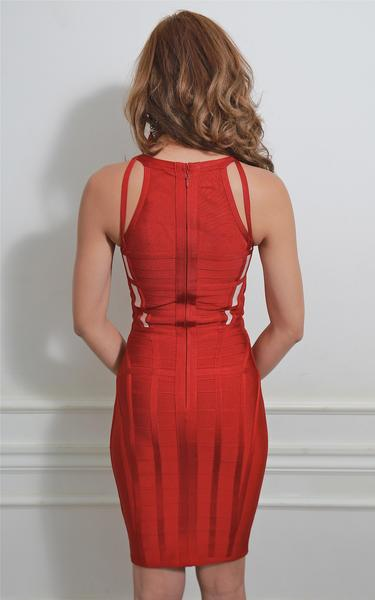 red strappy bandage dress - back view on model
