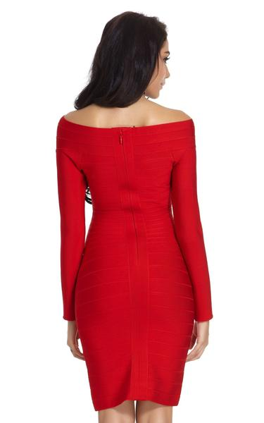 red long sleeve bandage dress - back view on model